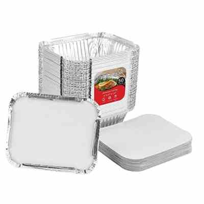 50 Pcs 4 x 3 Aluminum Takeout Containers with Lid for $9.99 Shipped!