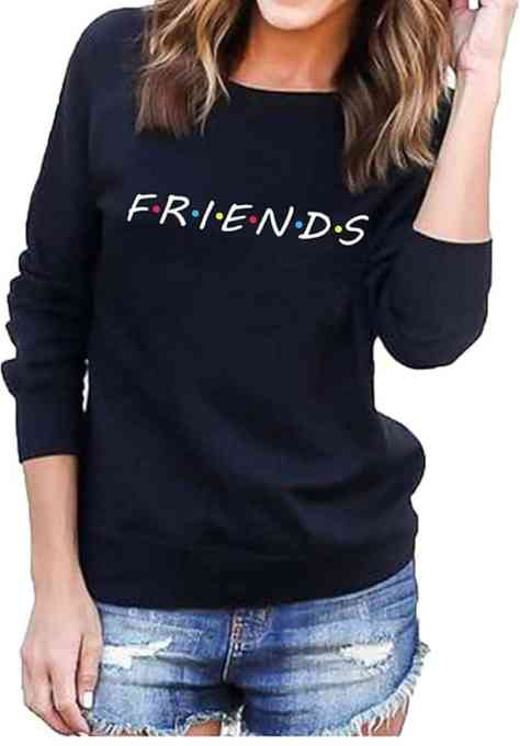 Women Friends Letter Print Thick Long Sleeve Front Pocket Hoodies Sweatshirt