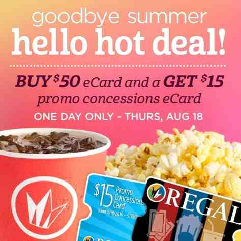 Buy $50 in Regal Cinemas Gift Cards, Get $15 in Concessions FREE