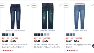 JCPenney: Buy 1 Get 1 FREE Arizona Jeans (Your state also on Tax-Free Weekend. Details inside)