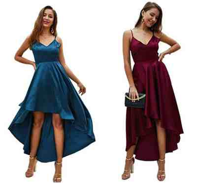 Women's High Low Dress - Spaghetti Straps Asymmetrical Maxi Dress for $9.20 w/code