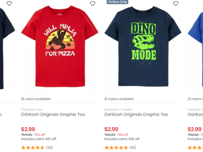 Carters / Oshkosh Clearance From $2.99 + Store Pickup. (Today Online Only)