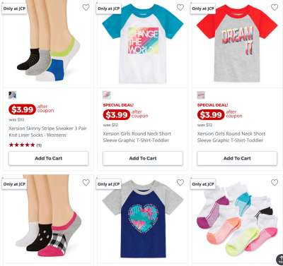 Workout Apparel for the entire famil starts from $3.99