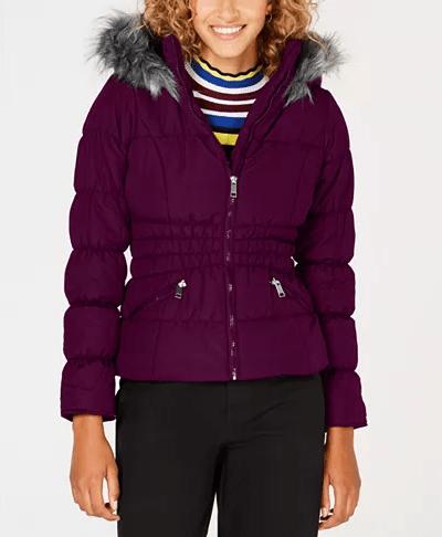 Macy's : Juniors' Faux-Fur-Trim Hooded Puffer Coat Just $19.83 (Reg $79.50)