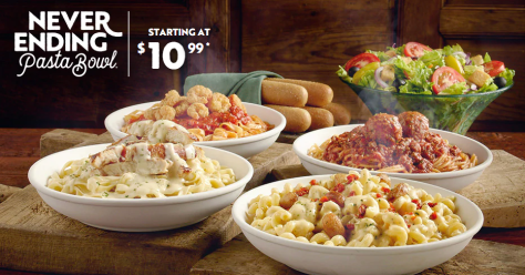 For a limited time only, visit Olive Garden where they are selling their Never Ending Pasta Bowl for ONLY $10.99! You will get unlimited Pasta, Breadsticks, and Salad or Soup for that low price! Sweet! The pasta can be served with sauce and toppings of your choosing for an additional price.  This offer is available for dine-in only. If you can not finish your food at the restaurant you can take your leftovers home.