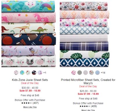 Macy's : Sheets & Pillowcases Starting at $7.99 !!