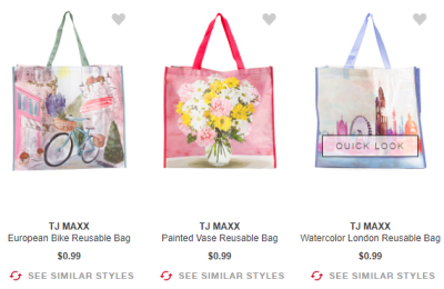 T.J.Max : TODAY ONLY!! $0.99 REUSABLE BAGS !