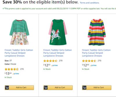 Amazon : 30% Off Kid's Dress (As of 9/18/2019 11.51 AM CDT)