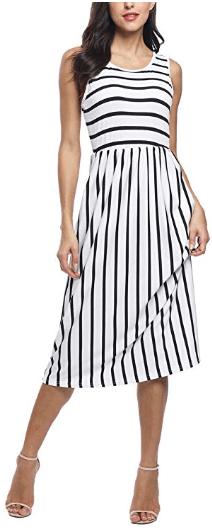 Amazon : Women's Casual Elastic Waist Pleated Striped Dress Just $9.99 W/Code (Reg : $19.98) (As of 9/18/2019 9.55 PM CDT)