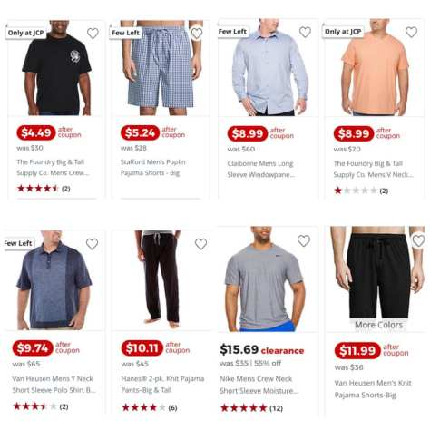Men's Big N Tall Apparel starts from $4.19 at JCPenny