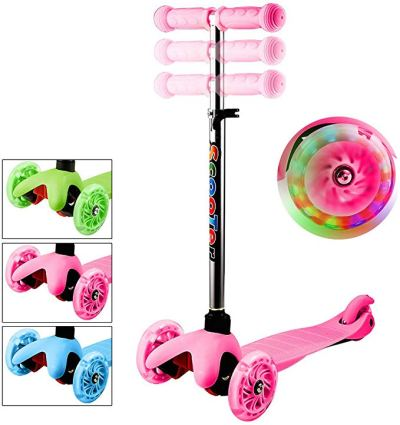 3 Wheel Adjustable Height Kick Scooter with Flashing PU Wheels for Kids Children Boys and Girls Aged 2-8 for $34.99 w/code