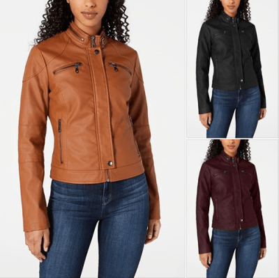 Macy's : Juniors' Faux-Leather Moto Jacket Just $38.49 W/Code (Reg $69.50)