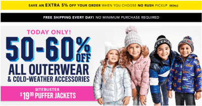 Children's Place : ** Today Only** Upto 60% Off All Outerwear & Cold Weather Accessories + FREE Shipping.