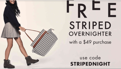 DSW : Buy 1 get 1 50% off bags and shoes at DSW today + FREE overnighter bag with a $49+ purchase!