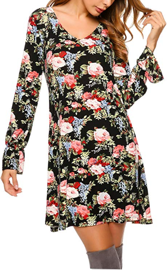 Amazon : Women Floral Tunic Bell Sleeve Swing T-Shirt Loose Dress Just $6.60 W/Code (Reg : $21.99) (As of 10/12/2019 2.30 PM CDT)