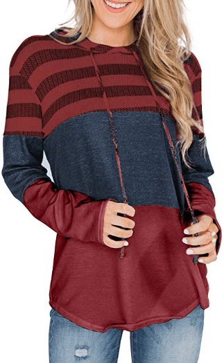 Amazon : Women's Tops Striped Color Block Long Sleeve Hoodies Just $9.99 W/Code (Reg : $24.98) (As of 10/12/2019 3.26 PM CDT)