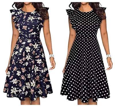 Women's Vintage Ruffle Dress Black Dot Print Skirt A Line Swing Casual Party Long Dresses from $10.49-11.99