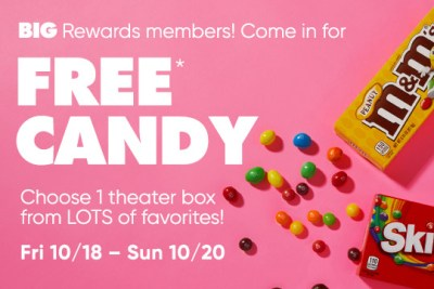 BIG Rewards members can get a Theater Box of Candy at Big Lots stores. Valid Fri 10/18 – Sun 10/20. This discount is pre-loaded to your Big rewards card. Just show it off to the cashier when you show off your box of FREE candy. FREE Theater Box of Candy at Big Lots Stores