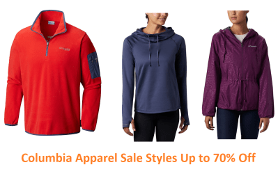 Columbia Apparel Sale Styles Up to 70% Off + FREE Shipping (Starting at ONLY $8!)