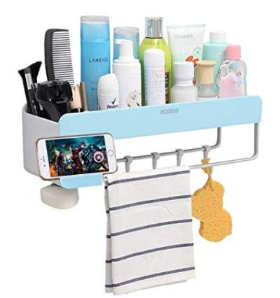 Adhesive Bathroom Shelf Storage Organizer Wall Mount No Drilling Shower Shelf Kitchen Storage for $9 w/code