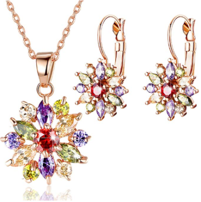 Amazon : 18K Rose Gold Plated Cubic Zirconia Snowflake Lever Back Earrings Necklace Set Just $ 10.49 W/Code (Reg : $20.99) (As of 11/22/2019 10.05 AM CST)