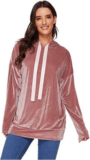 Amazon : Women's Drop Shoulder Velvet Hoodie Long Sleeve Sweatrshirt Just $7.80 W/Code (Reg : $29.99) (As of 11/11/2019 7.25 PM CST)