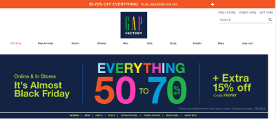 Gap Factory : Everything is 50-70% off + An Additional 15% off everything!