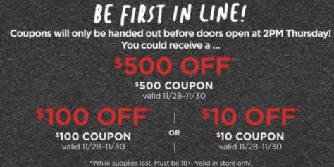 JCPenney Coupon Giveaway: $10, $100 or $500 Off In-Store Purchase Coupon (November 28th Only)