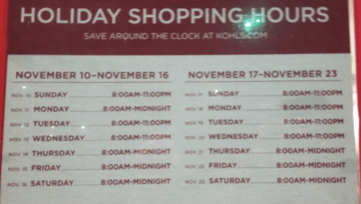 Yes. Kohls timings are very impressive for 2019 Holidays and you can do store pickup after your dinner :)