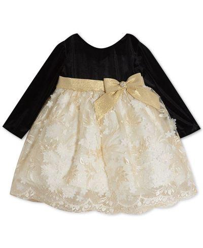 Rare Editions Baby Girls Velvet & Embroidered-Skirt Dress for $28.00 (Reg $70.00) | BlackFriday Price