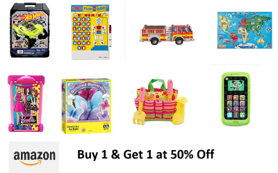 Buy 1, Get 1 at 50% off on Amazon Toys (Lots of Choices to buy)