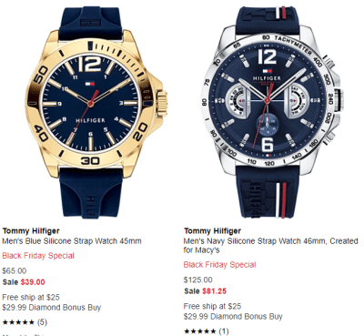 Macy's : Black Friday Special Tommy Hilfiger Men's Navy Silicone Strap Watch Sale!