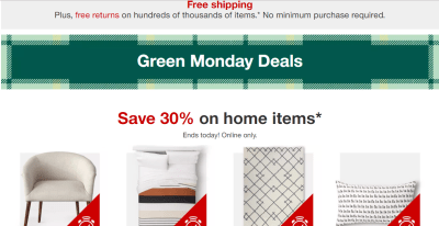Target : 30% Off Furniture, Kids Home Items, Bedding & Bath (Green Monday Deals!)