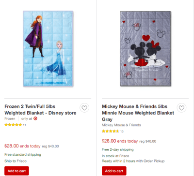 Target : Disney Kids Weighted Blankets Just $28 + FREE Shipping (Reg : $40) – Today Only!