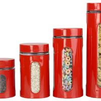 Amazon : 4-Piece Glass Canister Cylinder Set with Clear Window (Red) Just $7.99 (Reg : $16.20) (As of 12/07/2019 9.59 PM CST)