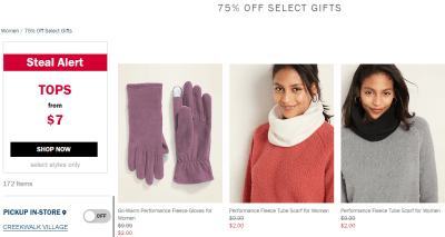 Old Navy : Today Only, Save 75% off gifts for men and women!