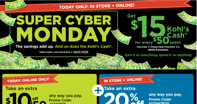 Kohl's : Cyber Deal : 20% Off + $10 Off $50 + $15 Kohls Cash!