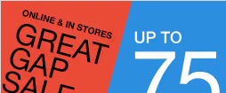Gap : up to 75% off all Merchandise plus EXTRA 60% off all Merchandise!