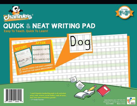 Quick & Neat Writing Pad, Practice Handwriting & Printing Workbook, 80 Pages Front & Back for $12.95