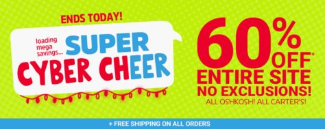 OshKosh B'Gosh & Carter's – 60% off ENTIRE SITE = FREE SHIPPING