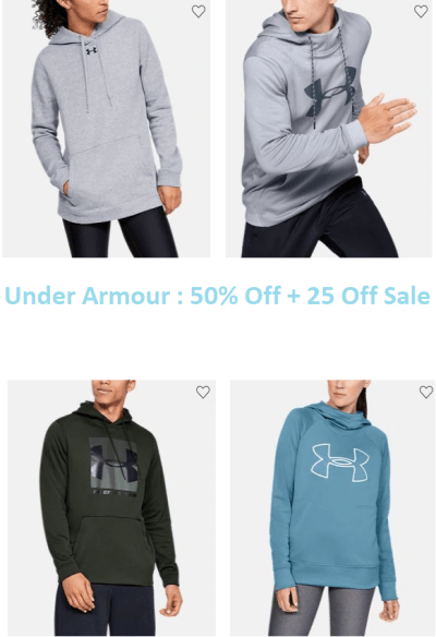 Under Armour with 50% Off + 25 % Off Discount & Free Shipping