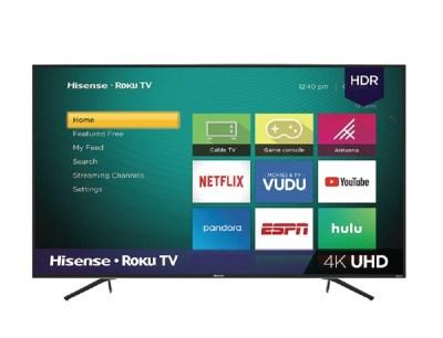 SALE! $428.00 (Reg $498.00) Hisense 65″ Class 4K Ultra HD (2160P) HDR Roku Smart LED TV