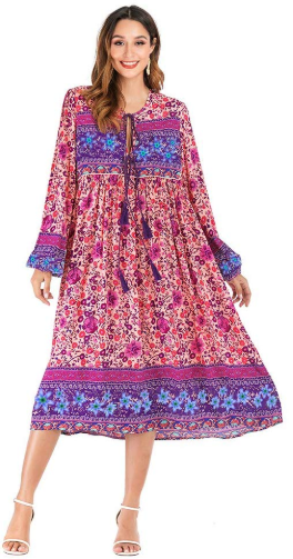Amazon : Women's Long Sleeve Floral Print Tassel V Neck Bohemian Loose Midi Dresses Just $5.40 W/Code + $3 Off Coupon (Reg : $26.99) (As of 1/16/2020 5.20 AM CST)