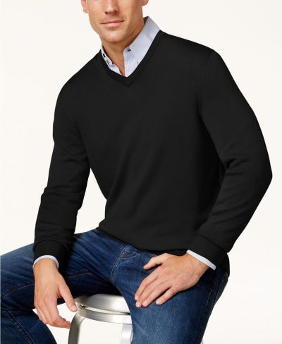 MACY'S: Club Room Men's Solid V-Neck Merino Wool Blend Sweater, JUST $18.74 (Reg $75.00) with code WINTER