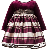 Macy's : Bonnie Baby Baby Girls Velvet Jacquard Striped Dress Just $12.76 (Reg : $64)