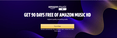 Amazon : NEW SUBSCRIBERS ONLY! GET 90 DAYS FREE OF AMAZON MUSIC HD!
