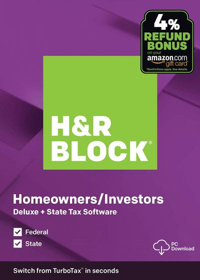 H&R Block 2019 Deluxe Tax Software Download Only $19.99 + Amazon Gift Card Refund Bonus