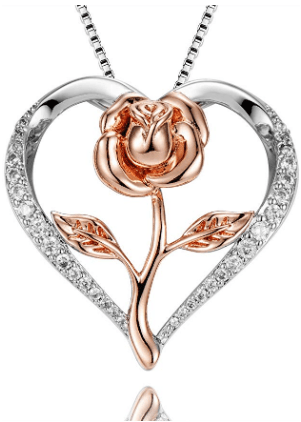 Amazon : Heart Rose Pendant Necklace Just $9.49 W/Code (Reg : $24.99) (As of 1/15/2020 10.10 AM CST)