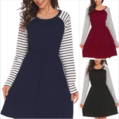 Amazon : Women Striped Long Sleeve Elastic Waist A-Line Knee Length Casual Dress Just $9.50 W/Code (Reg : $37.99) (As of 1/27/2020 7.35 PM CST)