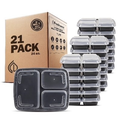 Walmart: Set of 21 Meal Prep Containers 3 Compartments with Lids, For $14.3 (Reg $19.99)